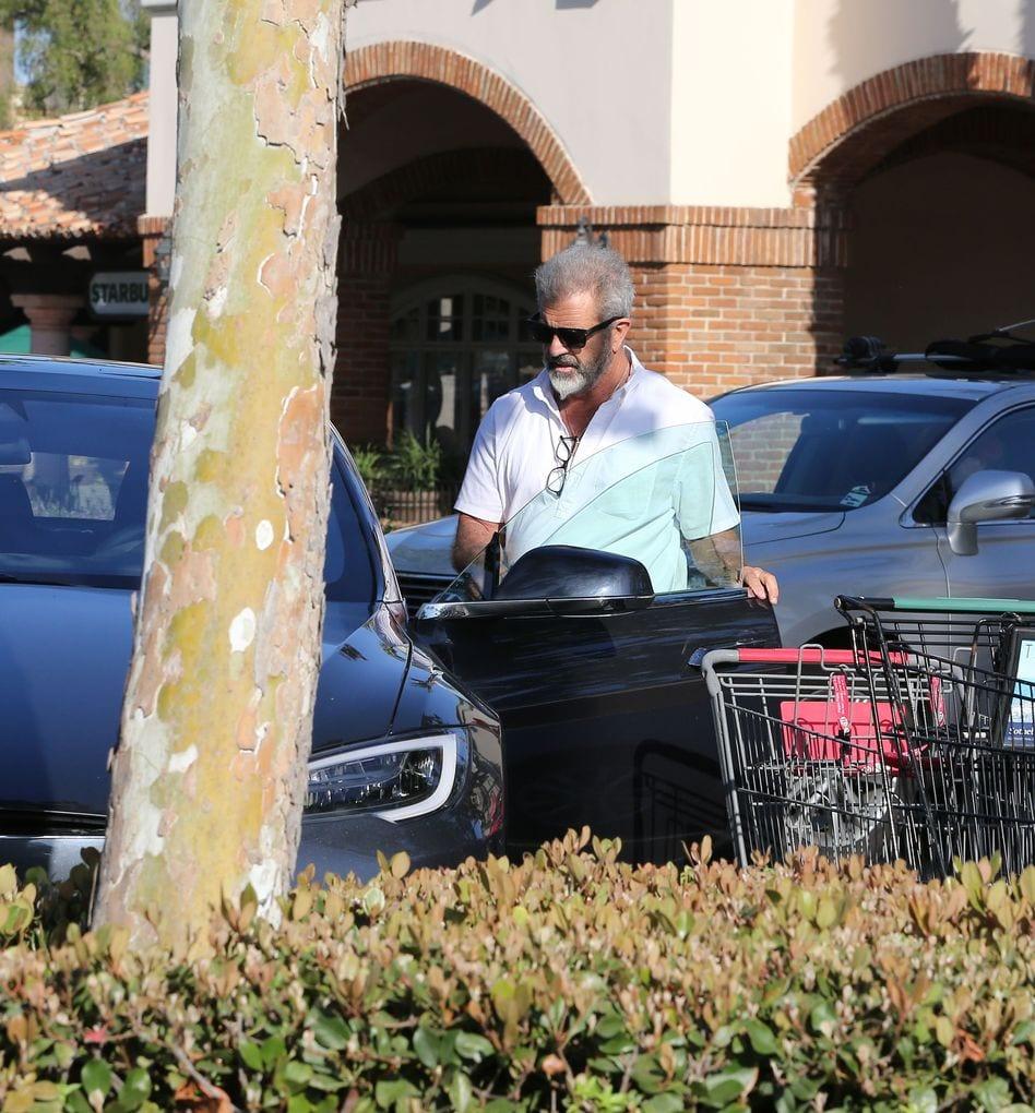 Mel Gibson en su flamante Tesla