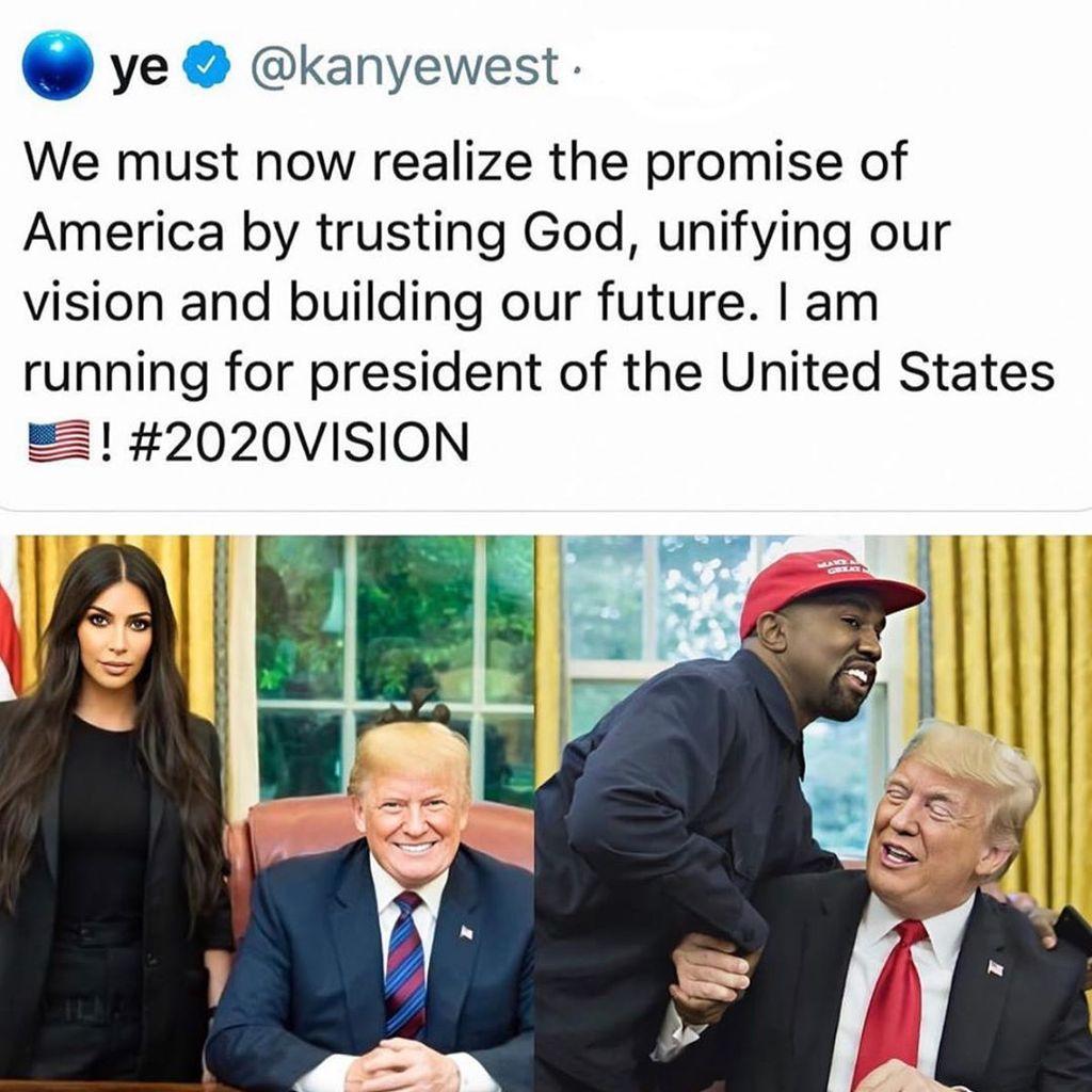 Kanye West anuncia su candidatura a Presidente de los Estados Unidos.
