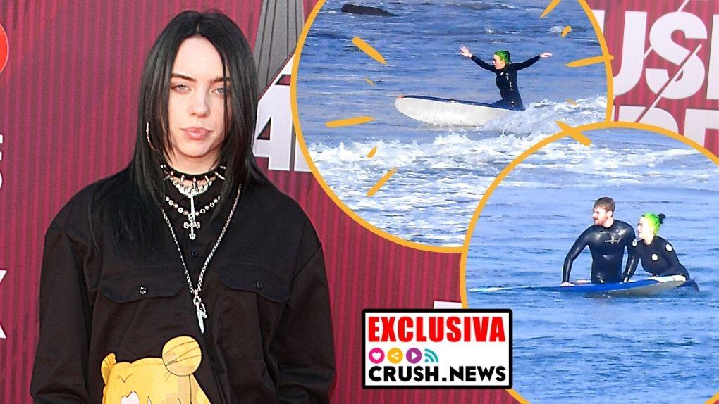 Bilie Eilish, una chica Bond surfeando en Malibú