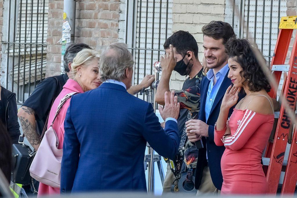 Un momento del rodaje con Belén, Carolina y los dos Gonzalos