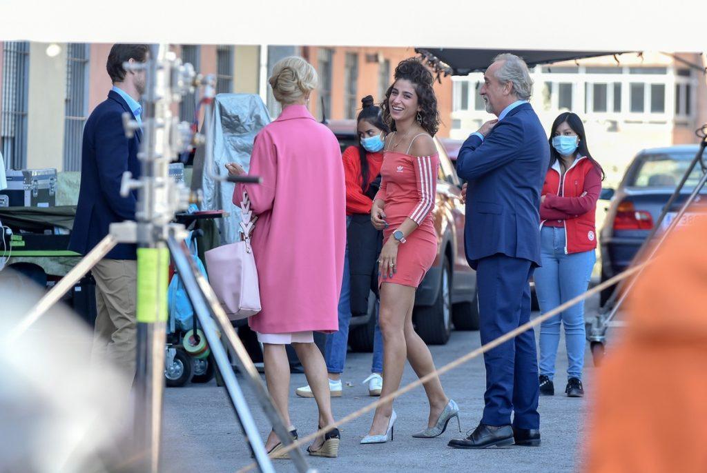Belén Rueda, Carolina Yuste y Gonzalo de Castro, en el set de rodaje