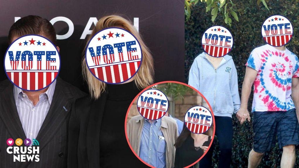 Tres parejas de celebrities con el rostro cubierto por un sello de voto