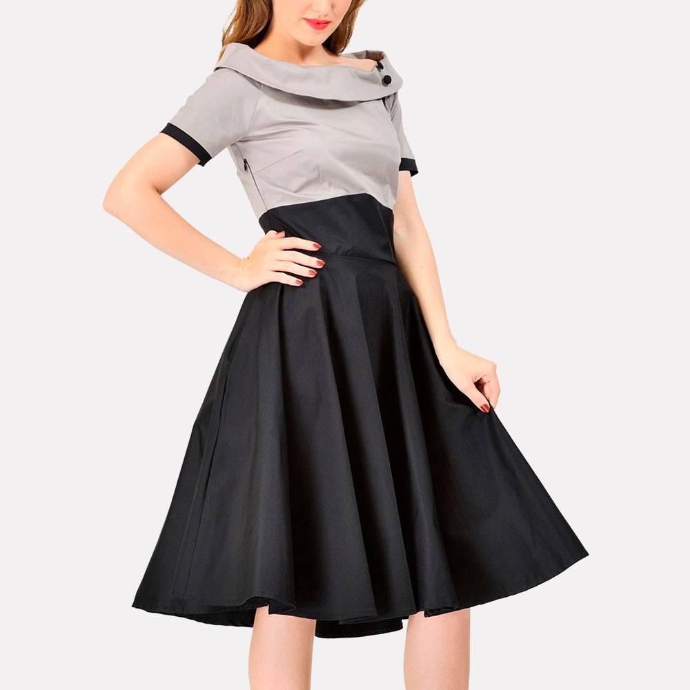 Vestido bicolor estilo años 60, en línea con los looks de Gambito de dama
