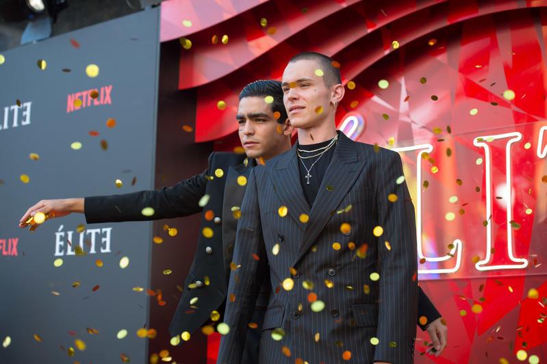 Arón Piper y Omar Ayuso, en un evento promocional de la segunda temporada de Élite