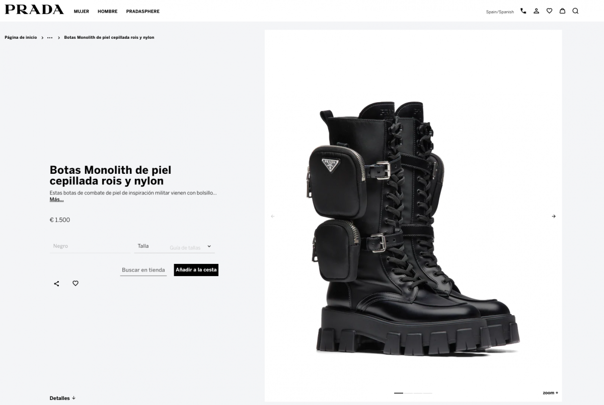 Las botas de Rosalía en la web de Prada