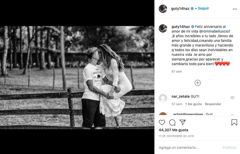 Post de Guti con su mujer, Romina