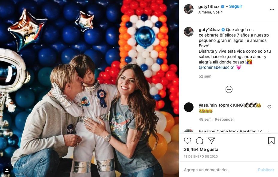 Post de Guti felicitando a Enzo