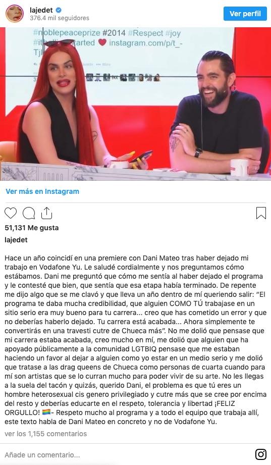 Post de instagram de Jedet que causó otra polémica de Dani Mateo