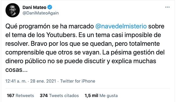 Tuit de Dani Mateo
