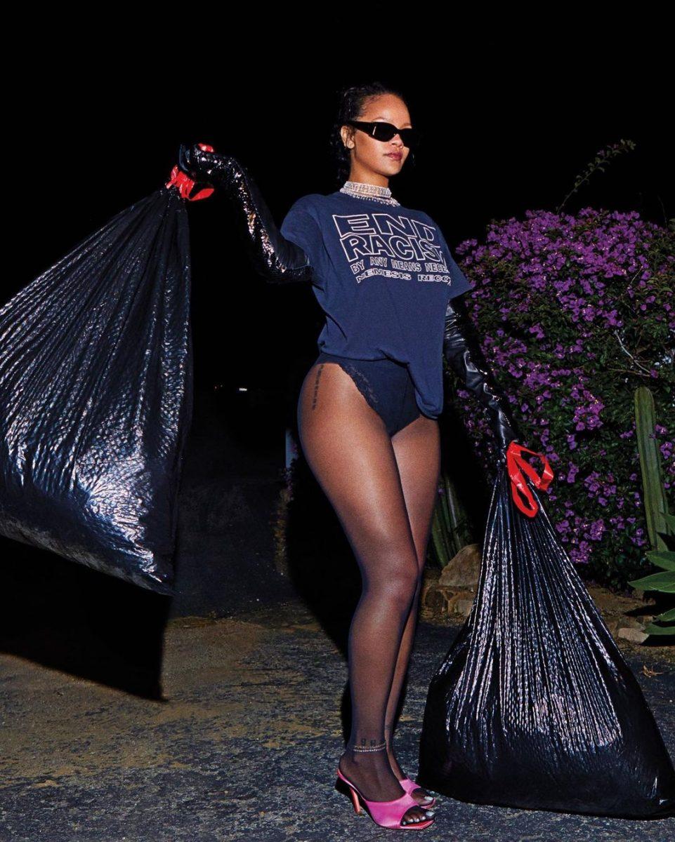 Rihanna tira la basura en ropa interior