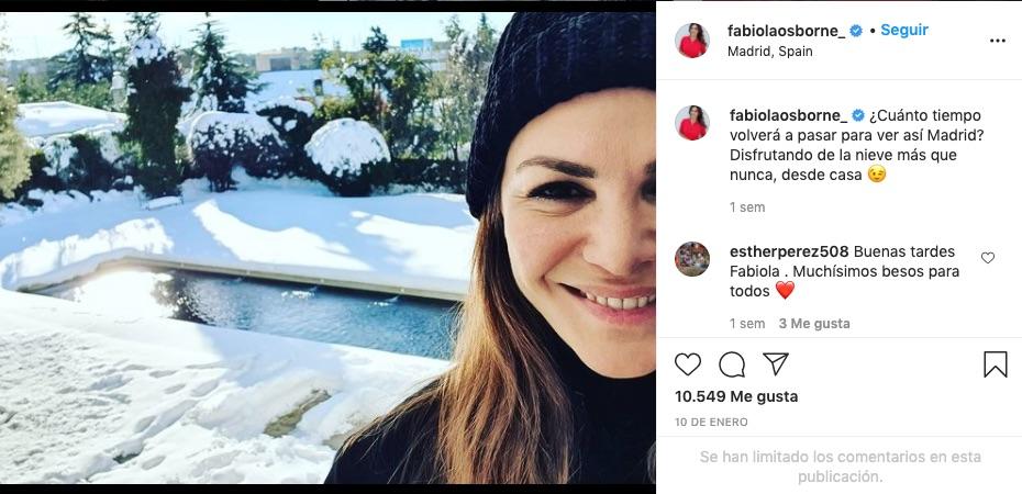 post de Instagram de Fabiola