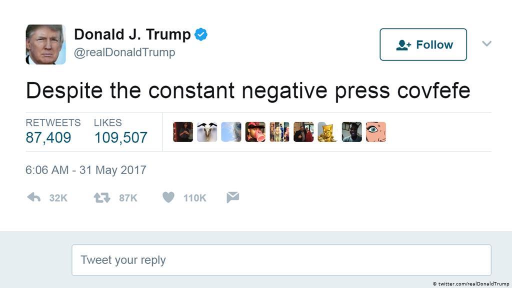 tuit de Trump con la palabra covfefe
