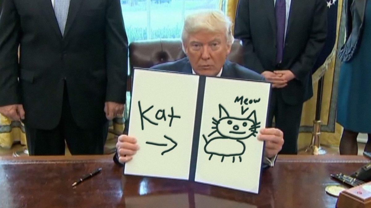 meme de la firma de una orden de Trump