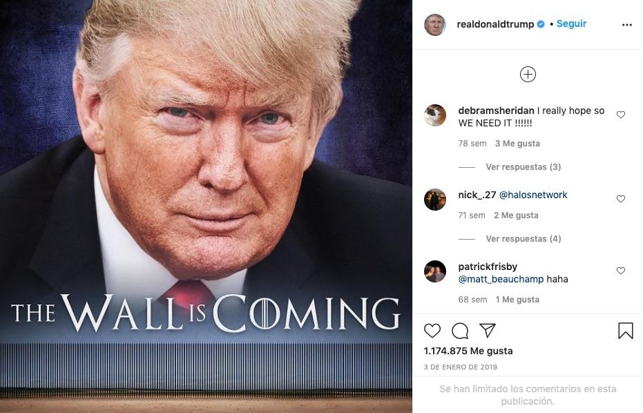 post de trump en Instagram