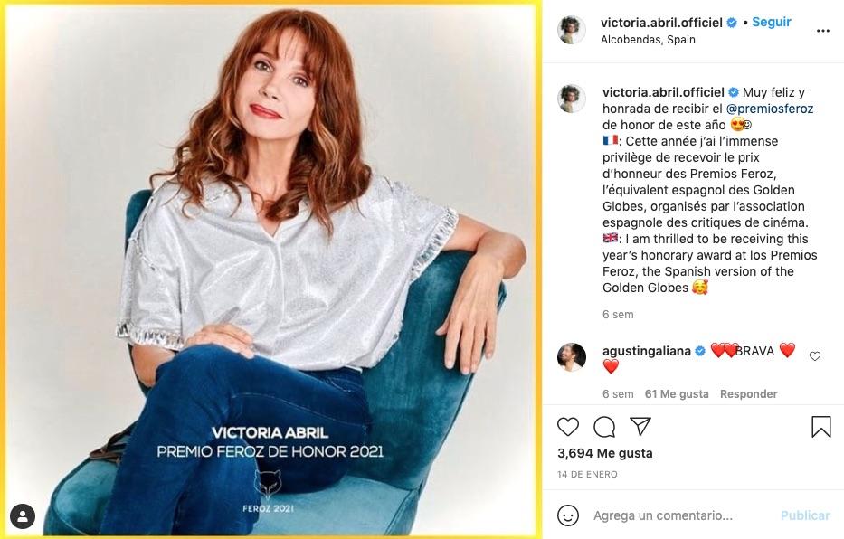 post de victoria abril en instagram