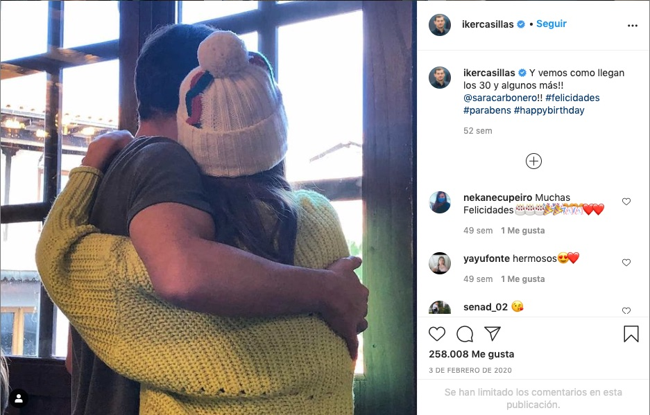 Post de Iker felicitando a Sara en 2020