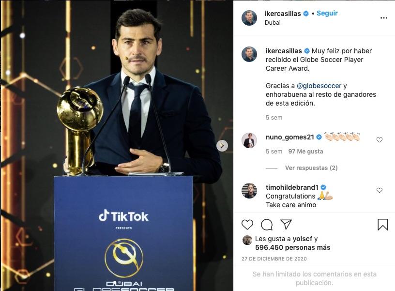 Post de Instagram de Iker Casillas