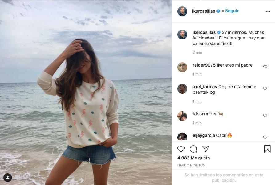 Felicitación de Iker a Sara en Instagram