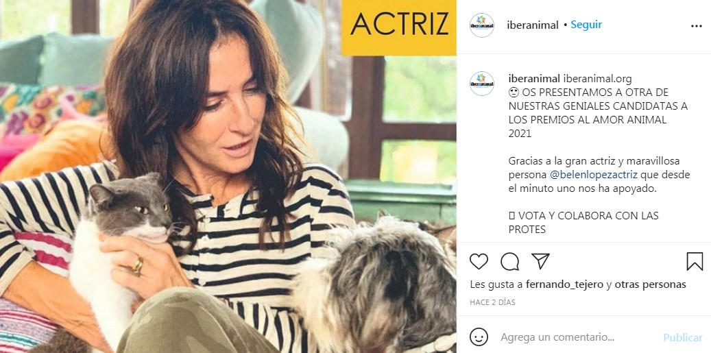 Belén López agradece postulación a Premios al Amor Animal 2021