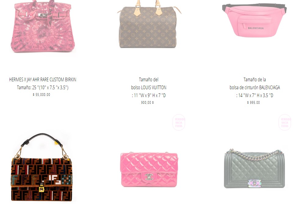 Bolsos vendidos en la tienda Kadashian Kloset de Kylie Jenner