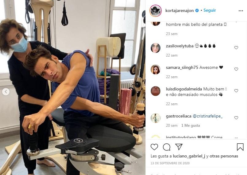 Jon Kortajarena realiza ejercicios de Gyrotonic