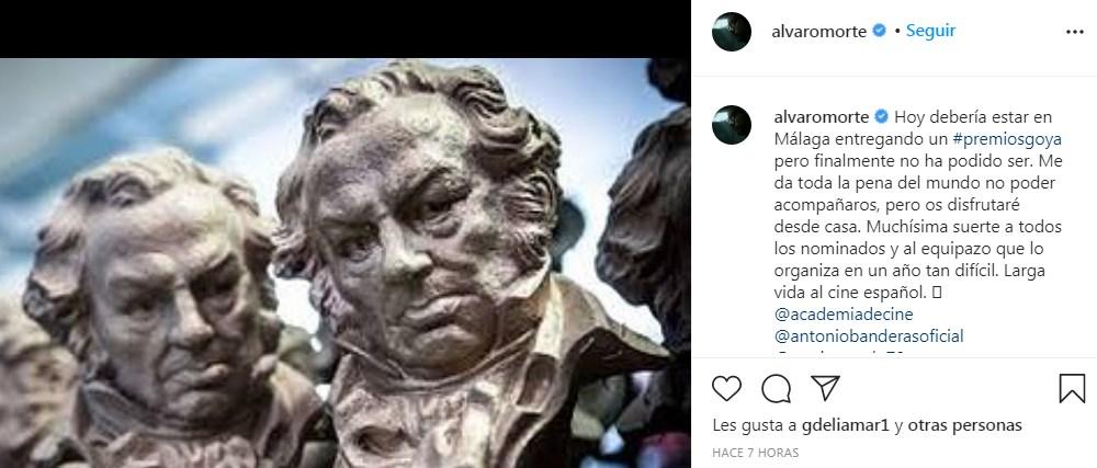 Larga vida al cine español Alvaro Morte se disculpa por no poder entregar premios Goya en Madrid