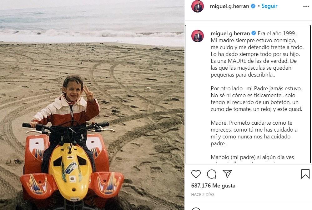 Miguel Herrán dedica post de amor a su madre y palabras a su desconocido padre