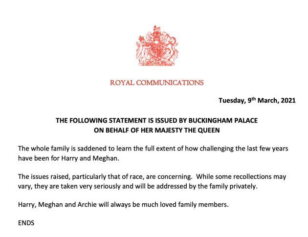 Comunicado de la casa real británica