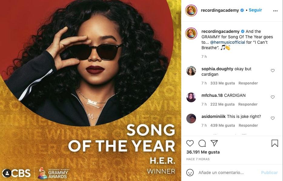 Post de instagram de los Grammy