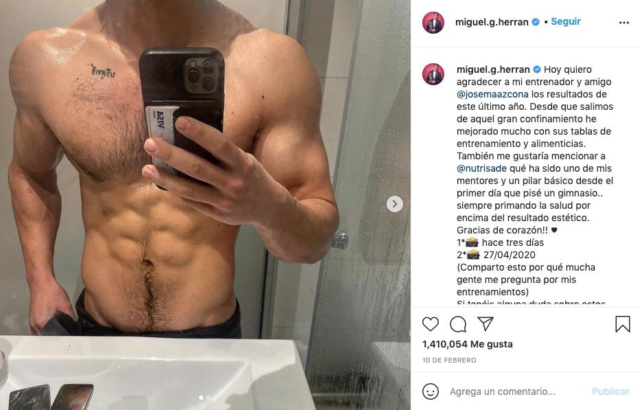 Post de Miguel Herran en instagram