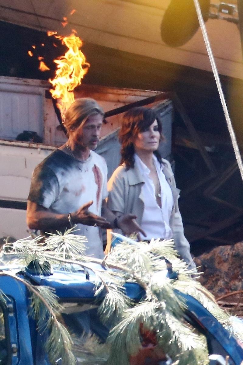 Imagen de la película de Brad Pitt y Sandra Bullock, con ambos, que se está rodando en Los Ángeles