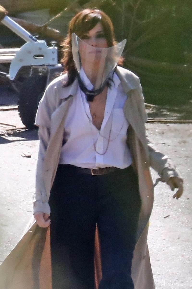 Sandra Bullock en un descanso del rodaje