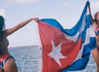 Bella Thorne usa caliente bikini con la bandera cubana