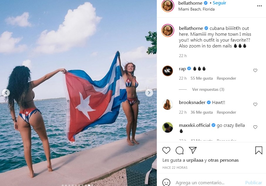 Bella Thorne usa caliente bikini con la bandera cubana y sus fans se derriten