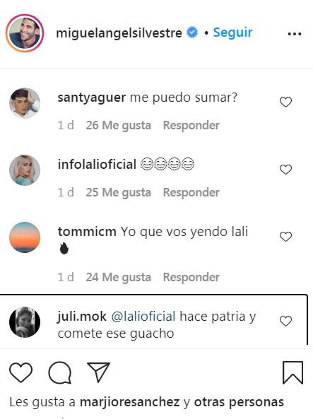 Comentarios a la conversación de Miguel Ángel Silvestre y Lali Espósito