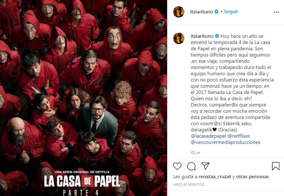 Itziar Ituño dedica un post a sus compañeros por fecha especial de La Casa de Papel