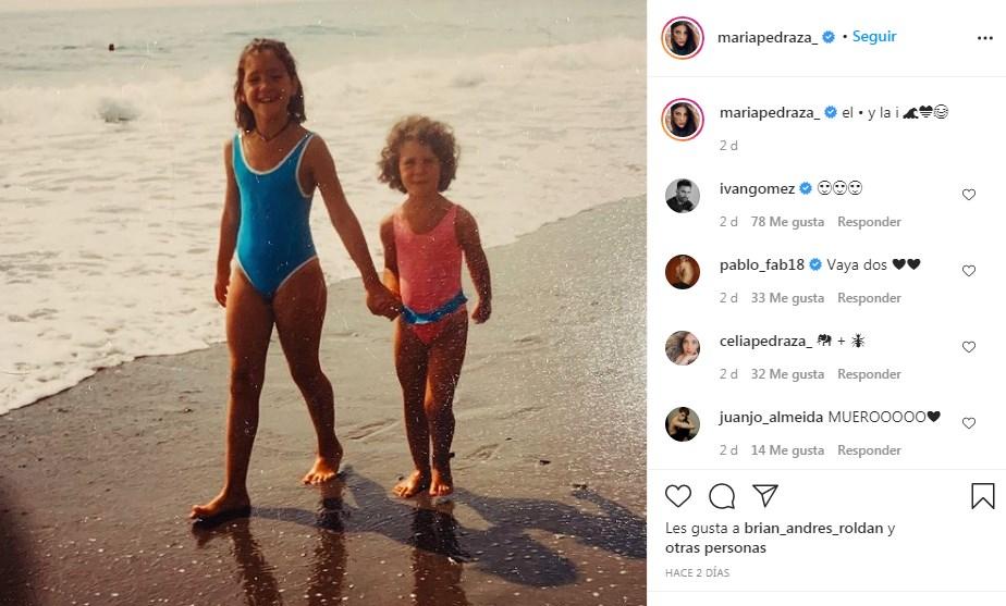 María Pedraza comparte foto de niña junto a su hermana