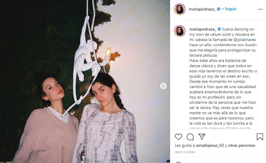 María Pedraza habla en Instagram sobre los cambios en su vida