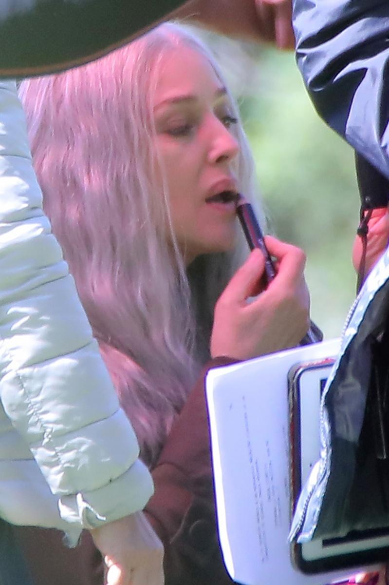 Monica Belluci en el rodaje de su nueva película