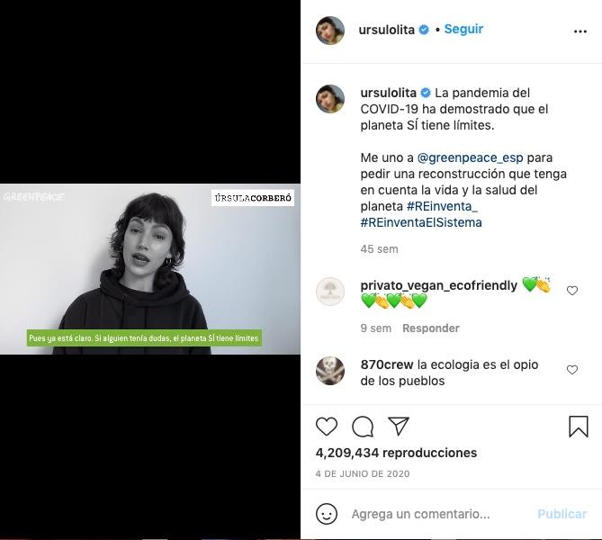 Post de Úrsula Corberó en Instagram