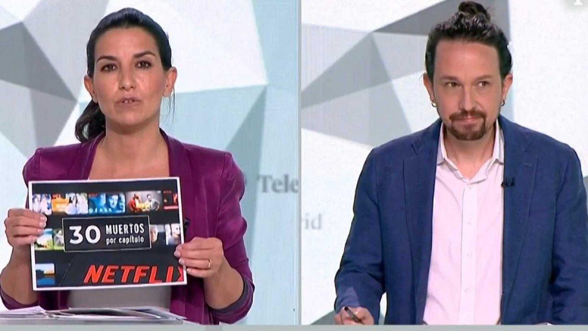 Rocío Monasterio y Pablo Iglesias, en el debate del 4m