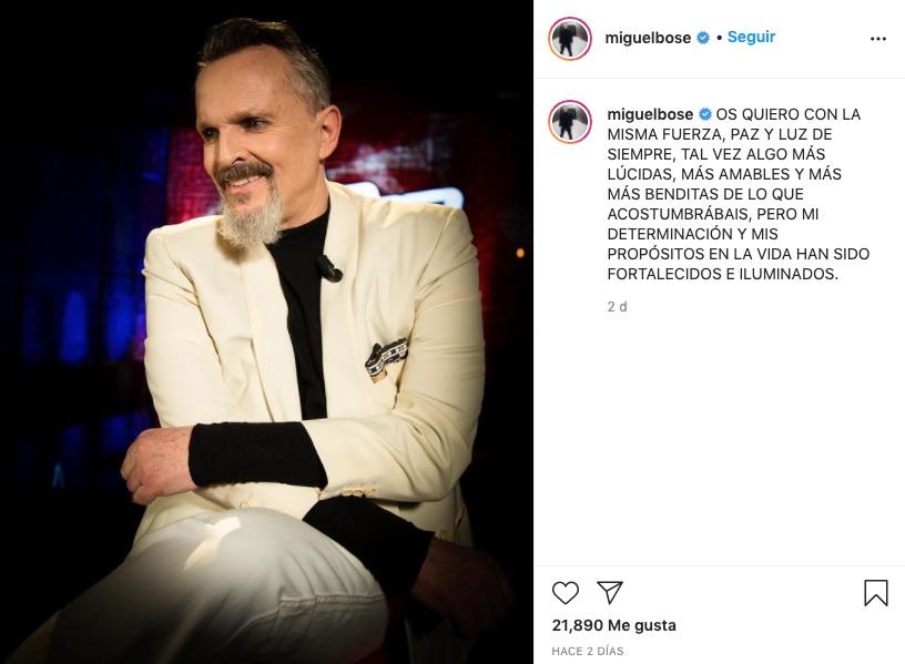 Post de Instagram de Miguel Bosé