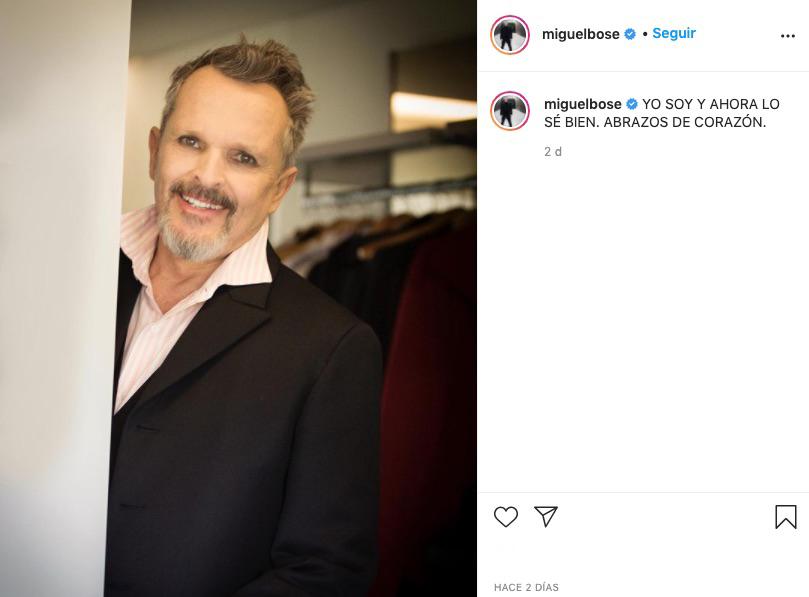 Ante la entrevista de Évole a Miguel Bosé, este ha reabierto su cuenta en Instagram y lo anuncia con post como este
