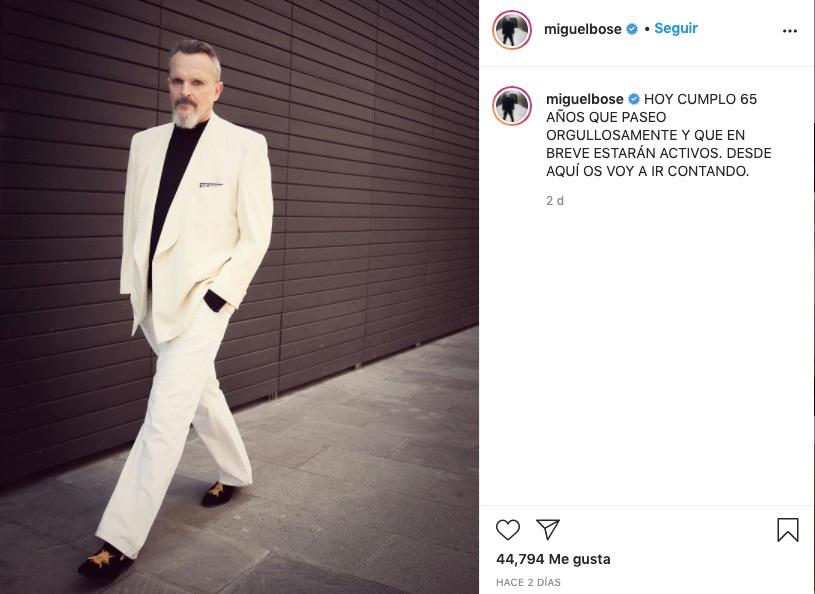 Post de Miguel Bosé en Instagram