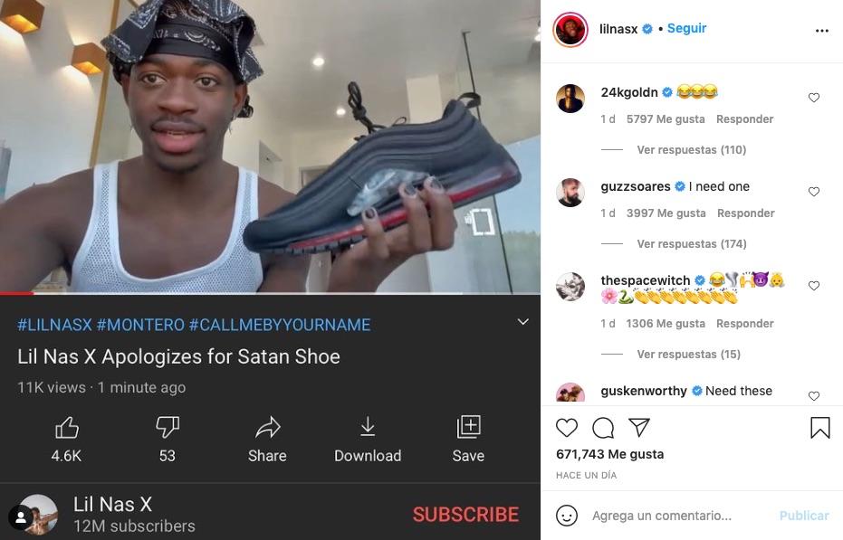 Lil Nas X con sus hematozapas en una captura de instagram