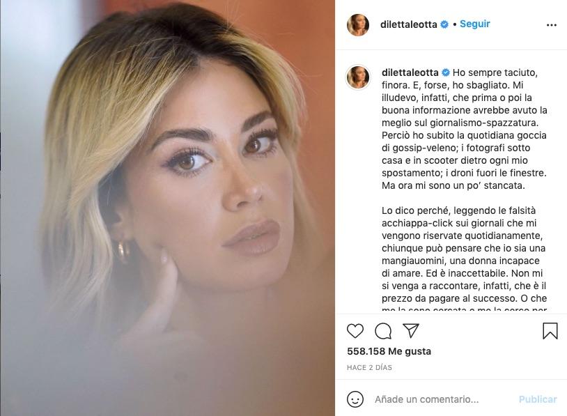 Carta de Diletta Leotta en Instagram