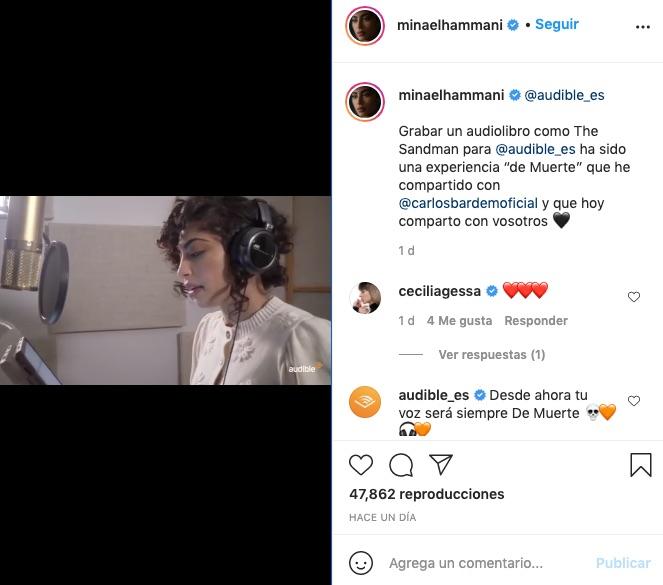 Post de instagram con Mina El Hammani en The Sandman, versión audiolibro