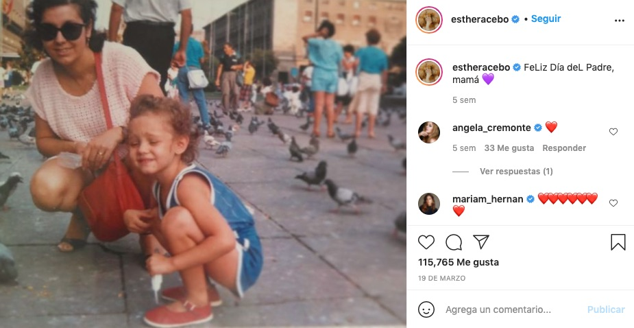Post de Esther Acebo de niña en Instagram