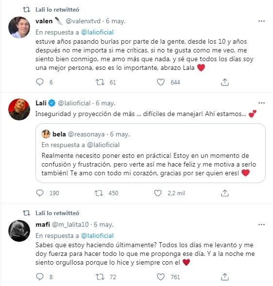 Lali Espósito arma terapia colectiva con sus fans en Twitter