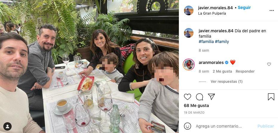 El hermano de Arancha Morales, con ella, su pareja e hijos y Marron